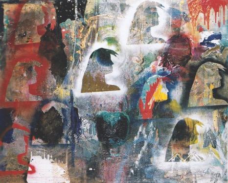"""Reminiscence"" Mixed media on canvas. 1998.  Bedri Baykam. Istanbul, Turkey."